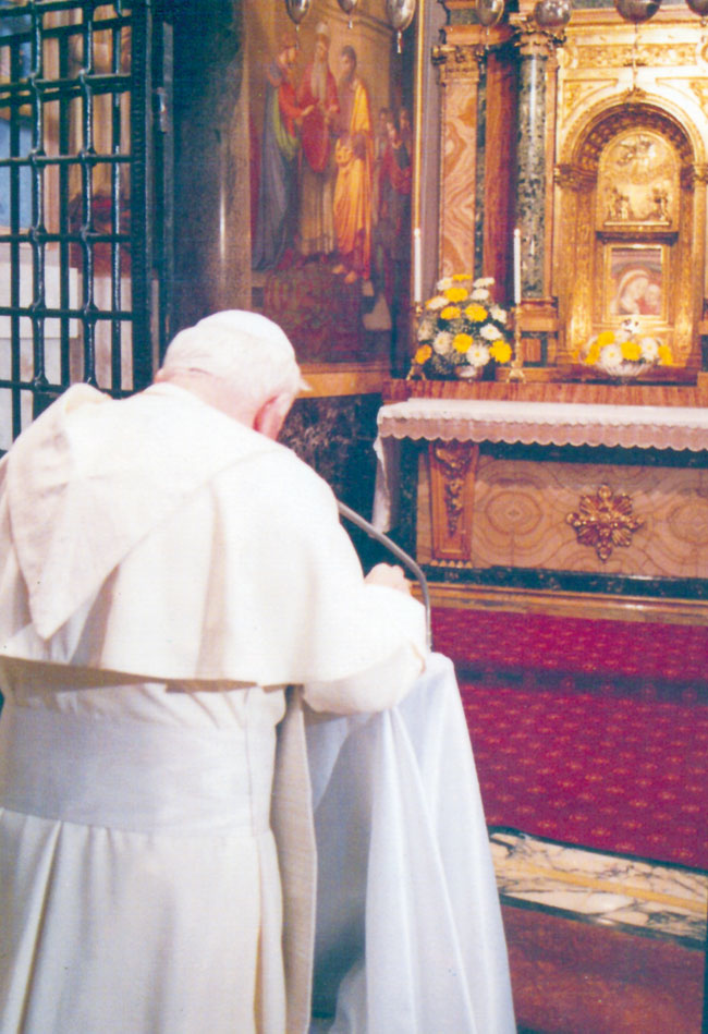 San Juan Pablo II ante la Virgen